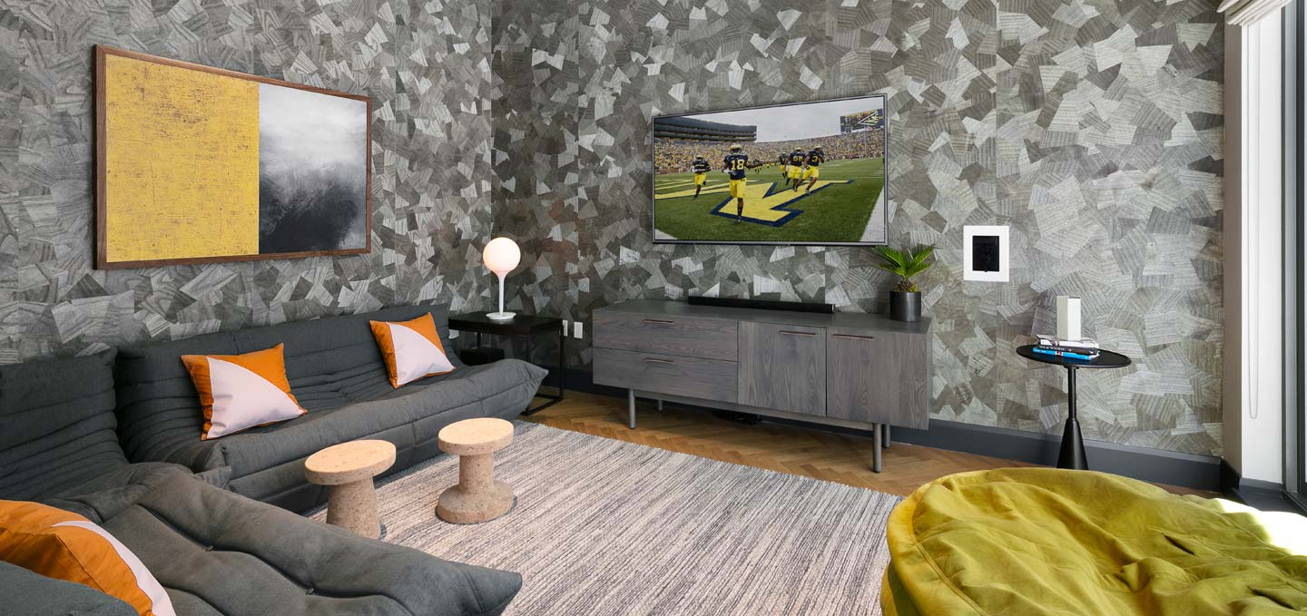 media room with PS4 and Xbox games consoles